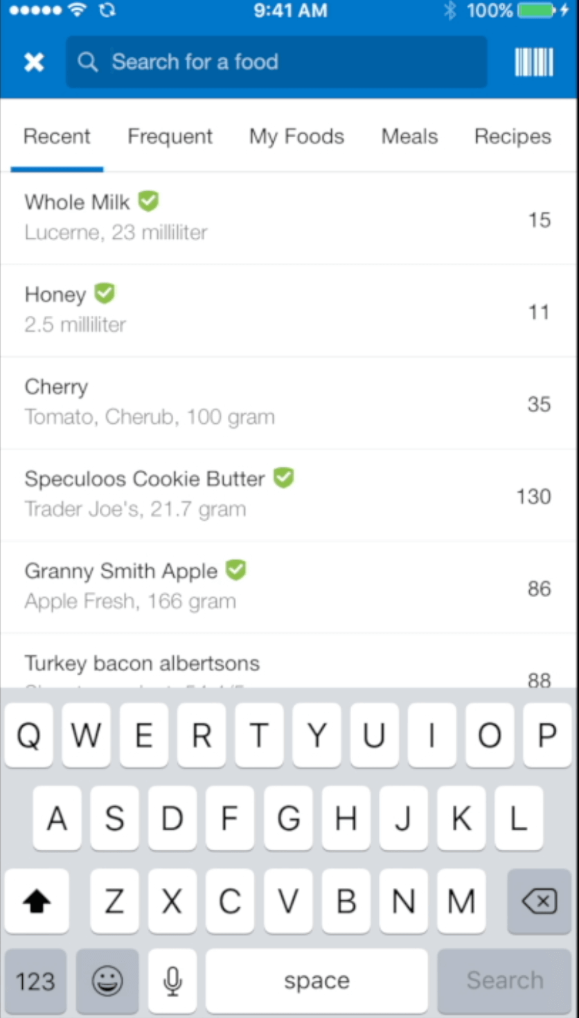 My Fitness Pal Recent Food Empty List